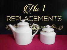 Royal Doulton White Sophia Small 0.75 Pint Teapot and Lidded Sugar Bowl H5125