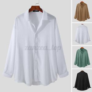 Men's Casual Formal Shirts Holiday Loose Fit Shirt Top Long Sleeve Blouse Tee UK