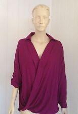 Chiffon Long Sleeve Wrap Tops & Blouses for Women