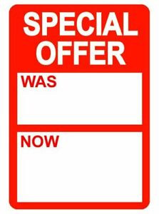 50 x Reduced Self Adhesive Stickers 'Was - Now' Retail Shop Sale Item Clearance