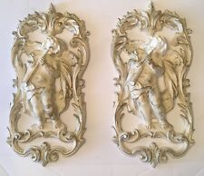 Vintage Home Interiors Cherub Playing Horn Plaque Set Of 2