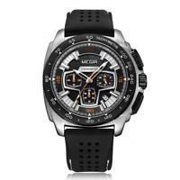 MEGIR Men Popular Quartz Analog Calendar Watch Silicon Strap Wristwatch Gift