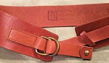 Gap Wide Copper Brown Leather double bronze D ring Ladies Belt Size XS NEW OSS
