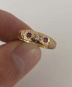 18ct Gold Ruby & Diamond Victorian Three Stone Ring WGM 18K 750.