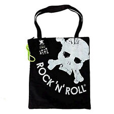 "Shopper SMEMORANDA nera in tessuto ""ROCK 'N' ROLL "" con zip 43,5X38,5 cm"