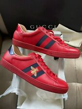 Gucci Men's Ace Lo-Top Red Leather Sneakers Sz 11.5G/12US