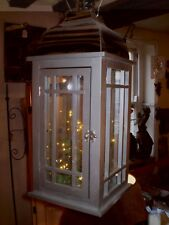 Large German nickle & timber hanging Led Light or  candle or t-lite lantern