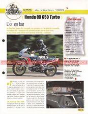 HONDA CX 650 Turbo 1983 Joe Bar Team Fiche Moto #003442