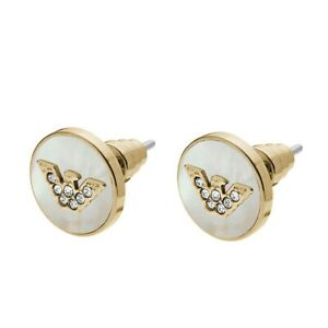 Emporio armani earrings mother of pearl gold tone