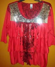 """M Fasis Plus 1X Red, Black Paisley Silver sequin Tiered Top """" Very Nice"""""""