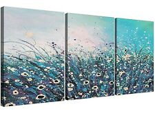 Teal and Cream Abstract Floral Canvas Split Set of 3 - 125cm Wide - 3260