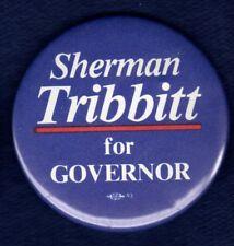 SHERMAN TRIBBITT ODESSA NEW CASTLE DELAWARE GOVERNOR WWII POLITICAL PIN BUTTON