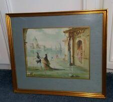 2 Vintage Original Roderic Montagu Watercolor and Gouache Gilt Frame Under Glass