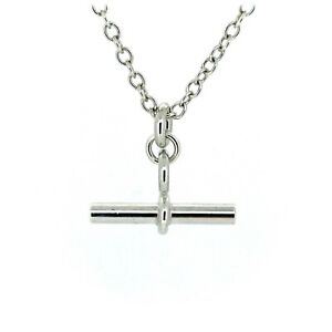 T Bar Necklace Sterling Silver Chain 2cm Albert Pendant