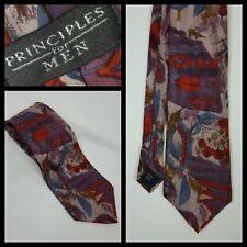 Principles Burgundy Rust Silk Tie Floral Print Made In England
