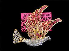 Peace Dove Charm Brooch Pin Gift Betsey Johnson Bling Pink Crystal Rhinestone