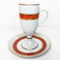 "Vintage FITZ & FLOYD Mid Century 4-1/2"" Tea Cup & Saucer Gold Rim Orange White"