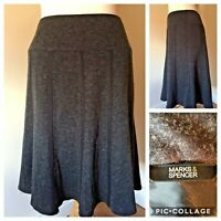 M&S Marks Spencer Ladies UK 14 Dark Grey Panelled Skirt Office Work Ex Condition