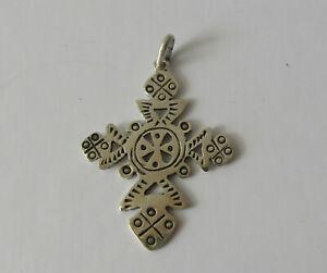 "Vintage Sterling Silver Cross Pendant, 1.5"" long, fancy design, signed Woods 925"