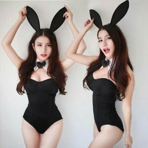 Sexy Women Lady Bunny Cosplay Costumes Lingerie Bodysuit Underwear Black