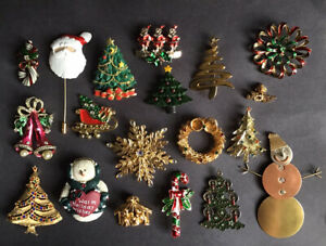Vintage to new Christmas Brooch Pin Lot