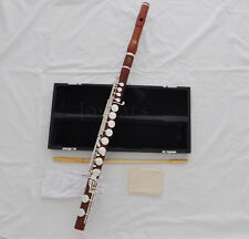 Professional Rose wooden Alto flute G key Silver plate +Leather case