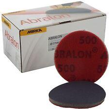 """Mirka Abralon 77mm 3"""" P500 Grit 20x HookNLoop Foam Fine Finishing Discs Pad"""