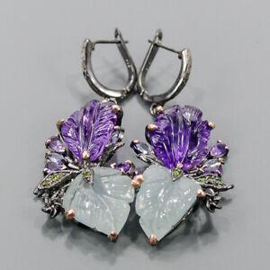 One of a kind SET Aquamarine Earrings Silver 925 Sterling   /E57462
