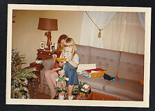 Old Vintage Photograph Mom & Little Girl by Christmas Tree Playing w/ Toys
