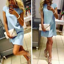 Women Summer Fashion Loose Dress T Shirt Solid Short Sleeve Elegant Sexy Party