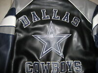 New Dallas Cowboys NFL Embroidered Pleather Jacket size  Large Authentic