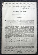 1955 JEROME HINES CONCERT PROGRAM Rare CLASSICAL Opera Singer BASS Basso MUSIC