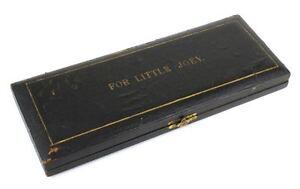 "Antique black christening set box ""For Little Joey"" presentation case"