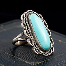 Antique Vintage Sterling Silver Native Pawn Navajo Turquoise Flower Ring! Sz 7.5