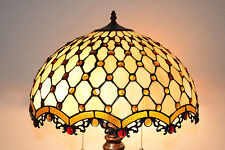 "18""W Zinc Base Diamond & Jewels Stained Glass Tiffany Style Jeweled Table Lamp"