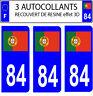 3 pegatinas matrícula de coche CON RELIEVE 3D RESINA BANDERA PORTUGAL Nº 84