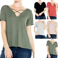 Solid Short Sleeve Criss Cross Front V Neck Top Casual Rayon Span Cute S M L