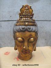 Chinese Tibet Buddhism Bodhisattva Kwan-Yin Huge Buddha Head Bronze Statue