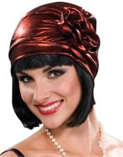 Roaring 20s Metallic Red Cloche Flapper Hat Women Costume Accessory Great Gatsby