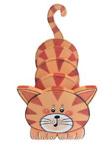 Vtg Wooden Orange Tabby Cat Folk Art Mail Letter Holder Desk Paper Organizer EUC