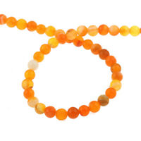 Topas Orange 6mm Achat Perlen Poliert Natürliche Streifen Edelsteine BEST G858