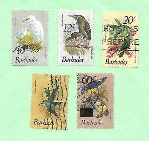 Barbados 1979 Birds Definitive Part Set 5 Stamps  FU.
