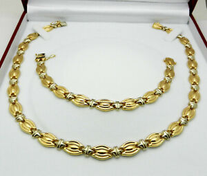 Jewelry Set 14k Two Tone Gold Hollow Necklace & Bracelet 40 grams Made in ITALY