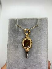 key fob charm pendant agate crystal Antique Victorian gold filled pocket watch