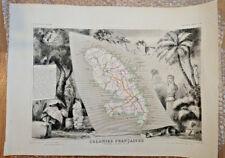 Lot cartes anciennes 1850  Levasseur MARTINIQUE + autre carte et documents