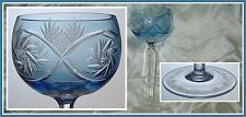 LIGHT BLUE Wine Glass Goblet Hock CUT TO CLEAR CRYSTAL Silesia Belgium France
