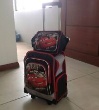 Black and red Lightning McQueen School Trolley Bag