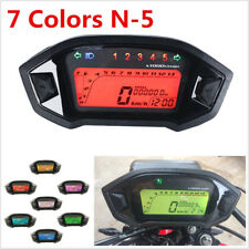 7-Color Backlight Motorcycle LCD Digital Speedometer Speed Sensor N-5 Gear DC12V