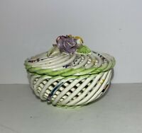 Vintage Spanish Porcelain Woven Twig Style Basket Roses Made In Spain