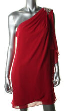 JS BOUTIQUE ~ Red Draped Chiffon Jewel Shoulder Shift Party Dress 8 NEW $129